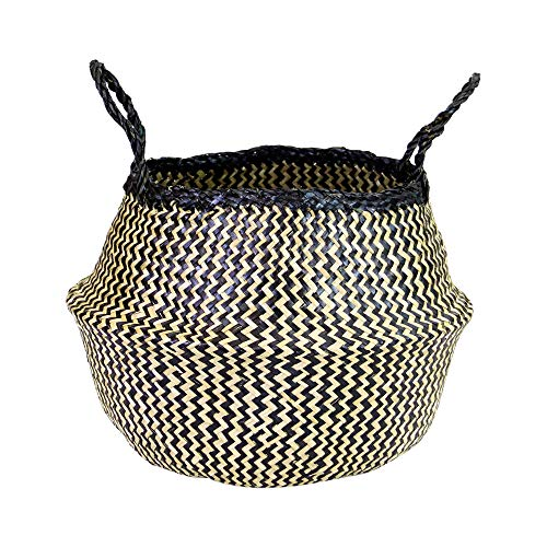 Natural Plush Woven Seagrass Tote Belly Basket Storage Laundry, Picnic, Plant Pot Cover Beach Bag (Seagrass Natural and Black Zig Zag Pattern, Large)