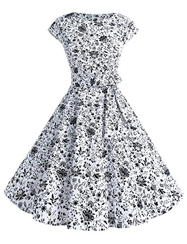 (Dressystar DS1956 Women Vintage 1950s Retro Rockabilly Prom Dresses Cap-Sleeve XL Skull)