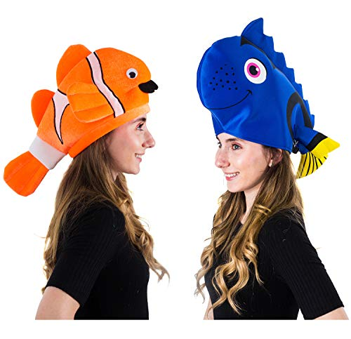 Tigerdoe Fish Hats - Clown Fish Hat - Tropical Fish Hat - Costume Hats - Under The Sea Party Hats (2 Pack)]()