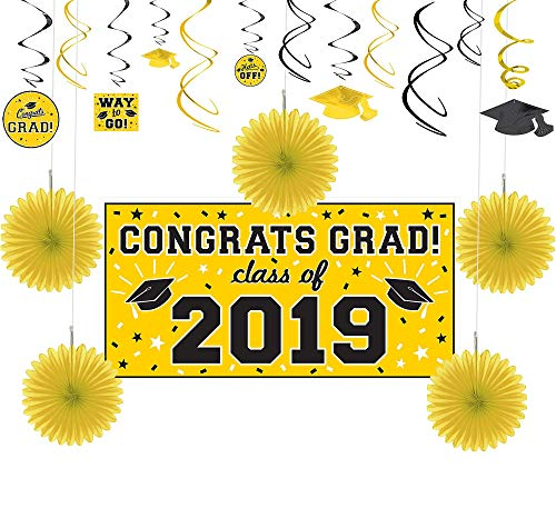 Party City Yellow Congrats Grad 2019 Graduation Basic Decorating Supplies with Banner, Paper Fans, and Swirls -