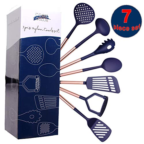 COOK With COLOR 7 Piece Navy Nylon Cooking Utensil Set with Copper Handles