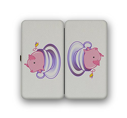 Teacup Pig In A Striped Purple Teacup Cute And Adorable - Taiga Hinge Wallet