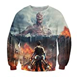 ZURIC Woman Man Attack On Titan 3D Print Long Sleeve Hoodies Sweats (S)