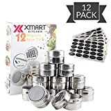 12 Magnetic Spice Tins for fridge and 113 Spices organizer Labels Round clear top lid spice containers with Sift or Pour Magnetic on refrigerator or wallbase Magnetic Spice Jars perfect for storing