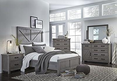 Arden Industrial Queen Size Bedroom Sets Solid Pine - Rustic Grey
