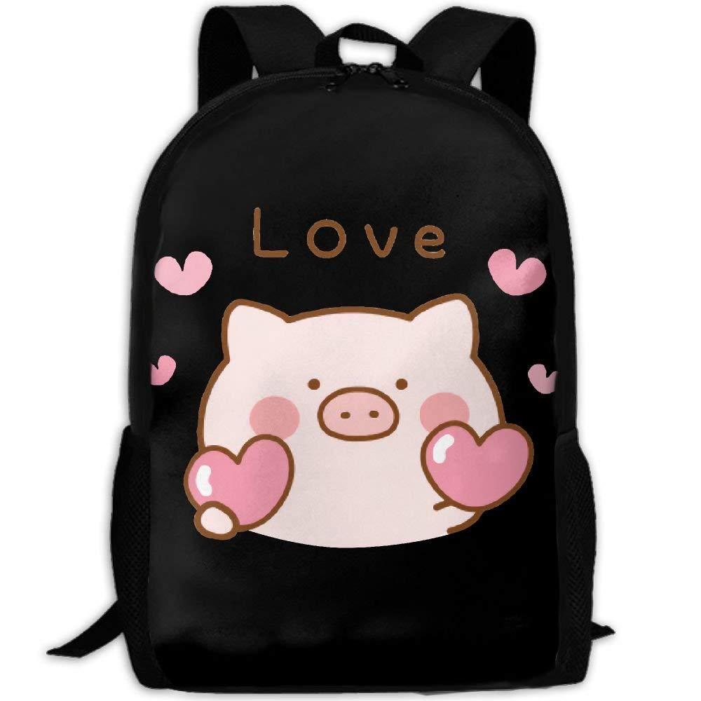 lu fangfangc Cute Piggy Heart Love Unique Outdoor Shoulders Bag Fabric Backpack Multipurpose Daypacks For Adult
