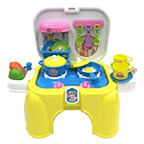 deAO Portable Kitchen Playset with Accessories Included Handy 2in1 Carrycase Stool with Light and Sounds Effect