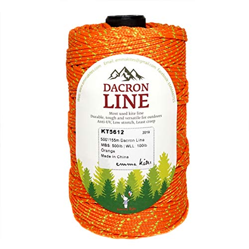 emma kites 300lbs / 500lbs Orange Braided Dacron Polyester String Cord Spool Kite Line for Large Kite Flying Outdoor Tactical Craft UV Resistant Low Stretch Heavy Duty (500lb 500ft/150Meter)
