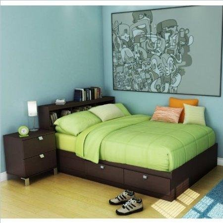 Kids Full Wood Storage Bed 3 Piece Bedroom Set in Chocolate