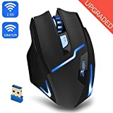 Kinnara Wireless Gaming Mouse, Professional Cordless Optical Mouse Adjustable LED Gaming Mice 3 DPI Levels 6 Buttons 2.4 GHz with USB Receiver PC Mac Netbook Desktop Laptop