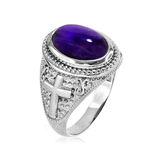 Sterling Silver Purple Amethyst February Birthstone Cross Ring (9)