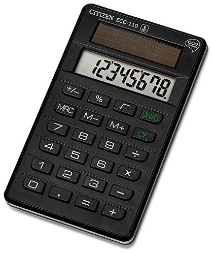 Citizen 45140 Calculatrice ECC-110 Poche 8 Chiffres 120 x 72 x 15mm Plastique Assorties