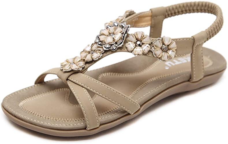 Ladies Sequin Beaded Slingback Summer Holiday Sandals Black Gold