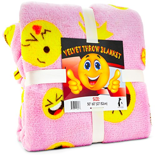 Koltose by Mash Pink Emoji Throw Blanket, Adorable Soft Large Fluffy Lightweight Emoticon Blanket for Girls and Boys, Toddlers Kids Teens and Young Adults (50in x 60in) -