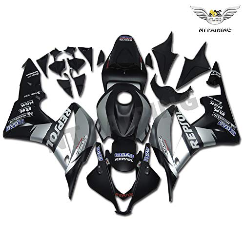 NT FAIRING Black Silver Repsol Fairing Fit for HONDA 2007 2008 CBR600RR CBR 600RR New Injection Mold ABS Plastics Bodywork Body Kit Bodyframe Body Work 07 08