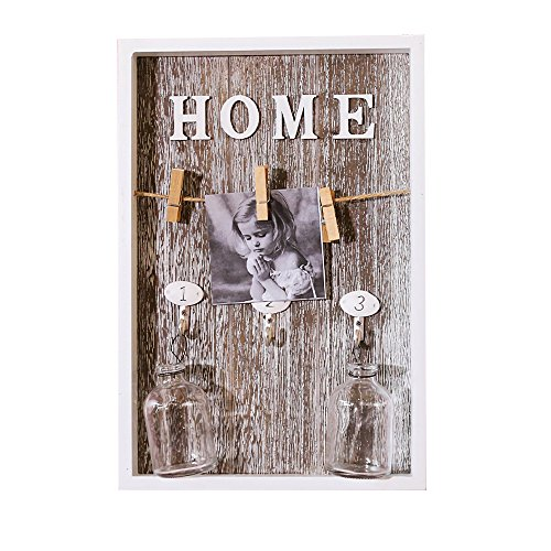n Home Photo Frame Wall Decor Retro Picture Frame Wall Art Keychain With 3 Clips,3 hook,2 Glass Bottle (pattern 2) (Art Glass Keychain)