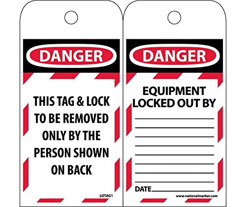 LOTAG1ST250 Polytag National Marker Tags, Lockout, Danger This Tag Lock to Be Removed Only, 6 Inches x 3 Inches, Polytag, Box of 250