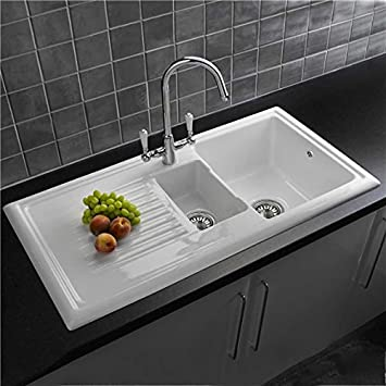 reginox rl301cw 15 bowl white ceramic reversible inset kitchen sink waste kit - Ceramic Kitchen Sink