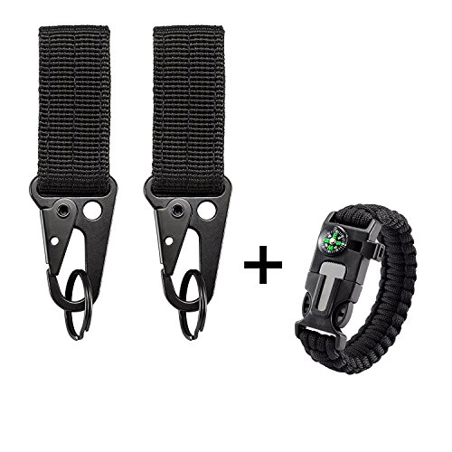 Keeper Key Belt - BOOSTEADY Tactical Key Ring Holder Nylon Gear Keeper Pouch for Molle Bags Webbing Attachment Strap Belt with 1 Pcs Fire Starter