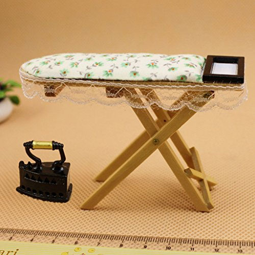 Cute Iron With Ironing Board set 1:12 scale Doll House Miniature