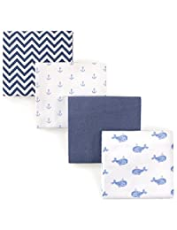 Hudson Baby Receiving Blankets, 4 Pack, Blue Whales