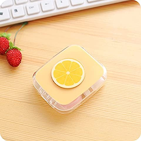 TMJJ Cute Mini Fruits Patterns Contact Lens Case Holder for Home and Travel with Mirror (White Out Contact Lens)