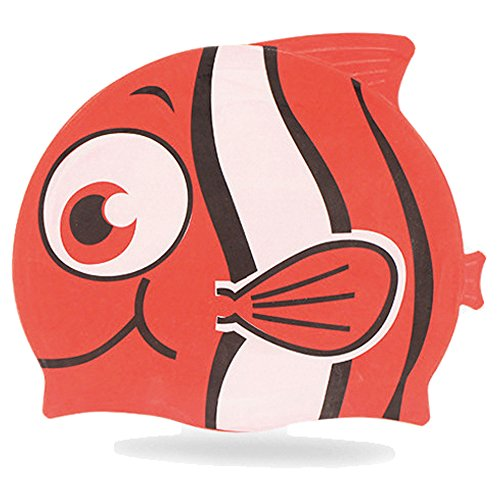 Red Cat Racing Cap (Animal Design for Kids Silicone Swim Cap Animal Shaped - Aged 2-6 for your Boys and Girls (Red))