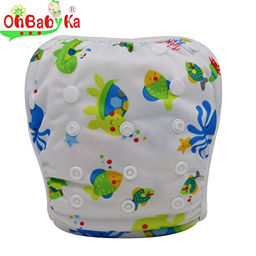 OHBABYKA One Size Washable Reusable Baby Swim Diaper Pants To Fit for 0-3Yr, Cute fishes.