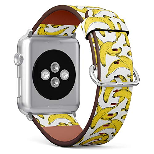 Compatible with Apple Watch Serie 4/3/2/1 (Small Version 38/40 mm) Leather Wristband Bracelet Replacement Accessory Band + Adapters - Old Print Banana