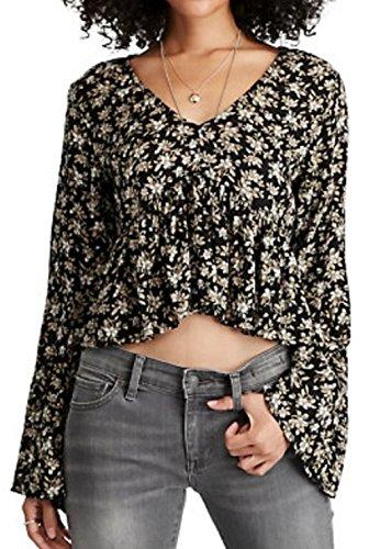 Denim & Supply Ralph Lauren Women's Floral-Print Bell Sleeve Top, Black