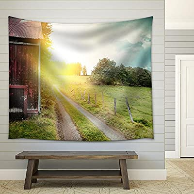 With a Professional Touch, Magnificent Artistry, Summer Landscape with Old Barn and Country Road at Sunset Fabric Wall