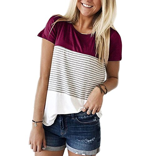 KABUEE Women's Short Sleeve Round Neck Color Block Striped T Shirt Casual Tops (Wine Red, L) -