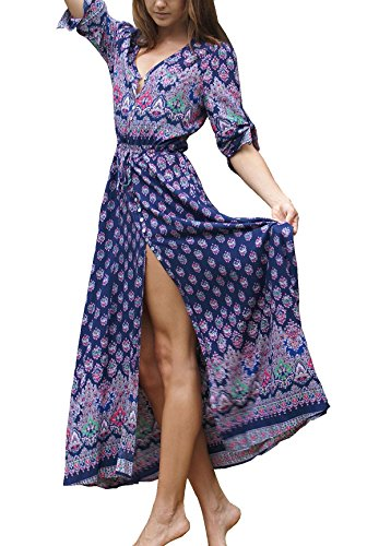 R.Vivimos Women's Summer Button Up Floral Print Split Beach Maxi Dresses XL Dark Blue - Floral Print Beach Bag
