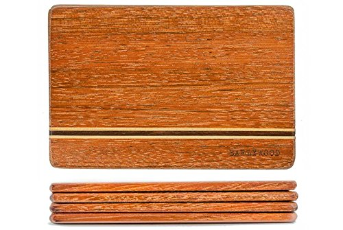 Small Wood Cutting Board Set. Set of 4 mini wooden cutting boards. Light and thin wood serving boards for wood cheese boards, spoon rests, trivets, wood serving set or bar cutting board set. The best! by Earlywood (Image #2)