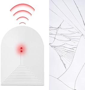 Wireless Glass Break Detector - 433MHz Crystal Broken Glass Alarm Sensor Window Home Security Alarm System for Home, Office, Dorm Room