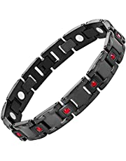 Willis Judd Red CZ Black Titanium Magnetic Bracelet Size Adjusting Tool and Gift Box Included
