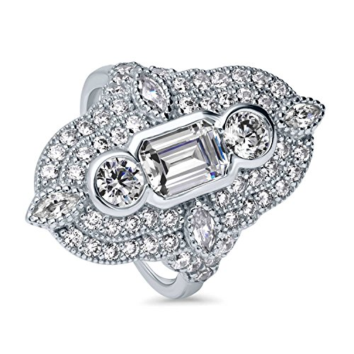 BERRICLE Rhodium Plated Sterling Silver Cubic Zirconia CZ Statement Art Deco Milgrain Cocktail Fashion Right Hand Ring Size 6 ()