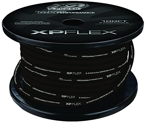 - XS Power XPFLEX2BK-100 Iced Black 2 AWG Cable(2940 Strands 100' Spool)