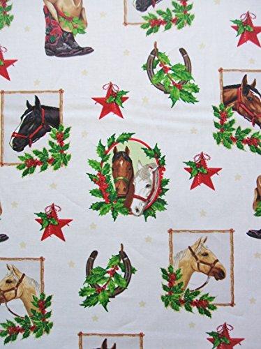 - Holly Jolly Christmas 5 Horse Ivory Mary Lake Thompson Fabric Robert Kaufman Yard