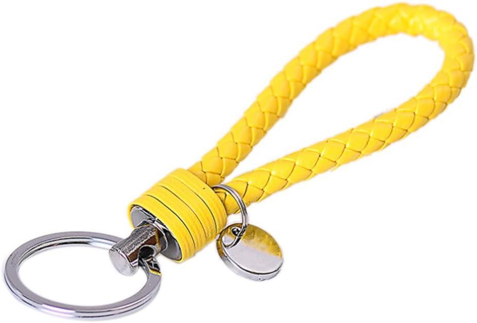 Wetrys 1 Pcs Blue Braided PU Leather Strap Keyring Keychain Car Key Chain Ring Key Fob