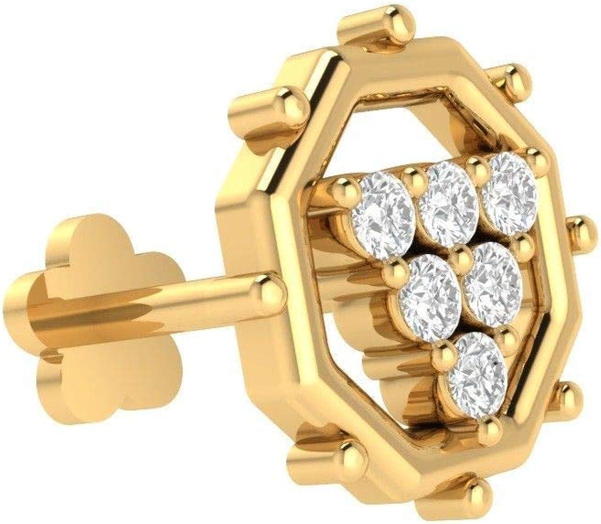 Amazon Com 10k Yellow Gold Real 6 Diamonds Engagement Nose