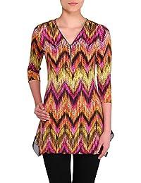 Nygard Women's Plus Size Slims Zip Neck Tunic Multi Chevron