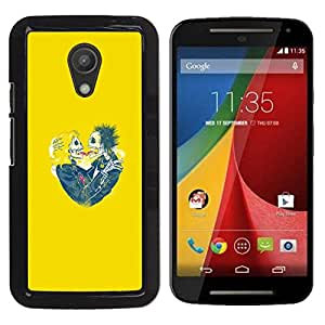 Be-Star Único Patrón Plástico Duro Fundas Cover Cubre Hard Case Cover Para Motorola Moto G2 II / Moto G (2nd gen) / Moto G (2014) ( Yellow Hearts Couple Skull Skeleton )