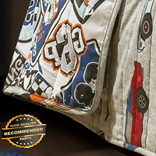 Werrox Race Cars Quilt Set 2pc Twin or 3pc Queen Boys Bedding Racing Nascar Reversible Size | Quilt Style ()