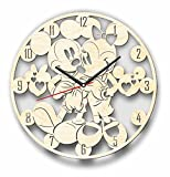 7ArtsStudio Mickey and Minnie Mouse Wall Clock Made of Wood - Perfect and Beautifully Cut - Decorate Your Home with Modern Art - Unique Gift for Him and Her - Size 12 Inches