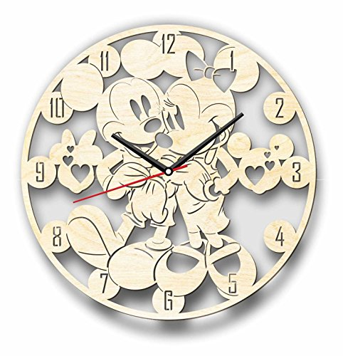 Mouse Holiday Personalized Mickey (7ArtsStudio Mickey and Minnie Mouse Wall Clock Made of WOOD - Perfect and Beautifully Cut - Decorate your Home with MODERN ART - UNIQUE GIFT for Him and Her - Size 12 Inches)