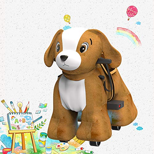 Hoverheart Rechargeable 6V/7A Plush Animal Ride On Toy for Kids (3~7 Years Old) with Safety Belt (Dog)