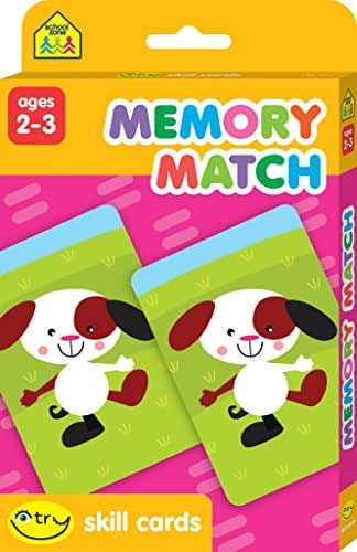 School Zone - Memory Match I Try Skill Cards, Ages 2 to 3, Visual Perception, Memory-Building, Matching, Pairing, Reading Readiness, Fine Motor Skills, Eye-Hand Coordination, and More