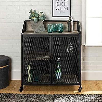 WE Furniture AZU33SOIBCGW Bar Cabinet