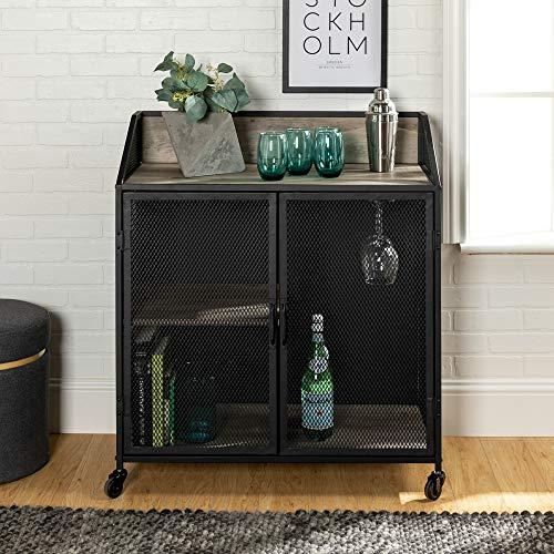 WE Furniture AZU33SOIBCGW Bar Cabinet, Grey Wash (Bar Bar Racks For Home Glass)